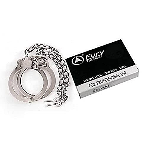 """Fury Tactical Double Lock Professional Leg Irons (Chain Chrome Silver), 17"""""""