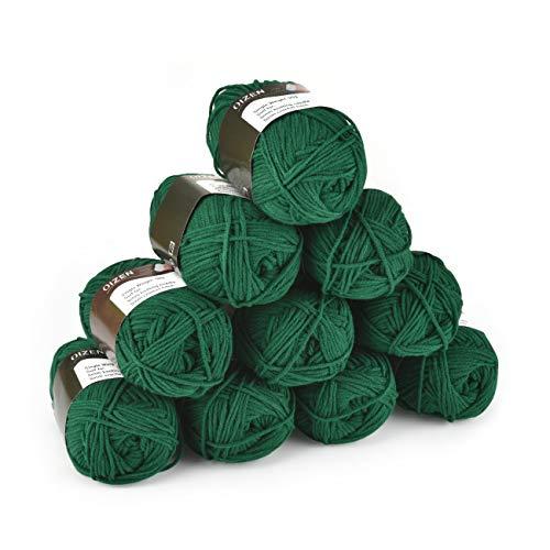 Hand Knitting Yarn Häkelgarn 500g (10x50g) Dunkelgrün Premium Wolle zum Stricken Handstrickgarn Baumwollgarn für Häkeln und Kunsthandwerk