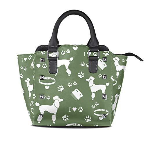 DEZIRO Poedel Kraag Hond Track Groen Handtas portemonnee voor dagelijks gebruik
