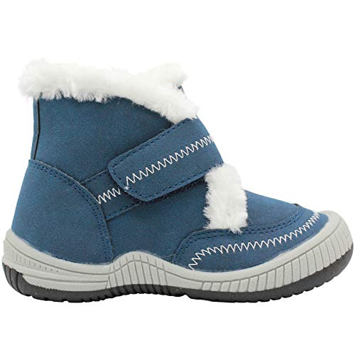 Lamo Bobbie Boys Fur Lined Winter Boot - Warm Shoes for Cold Weather - Navy - 8C