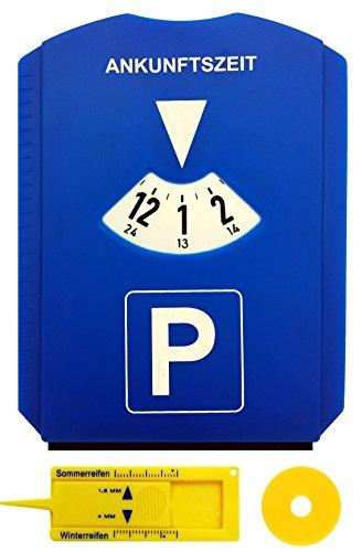 M&H-24 Parkscheibe Auto - mit Einkaufswagenchip und Reifenprofilmesser - Parkuhr mit Eiskratzer aus Kunststoff in Blau