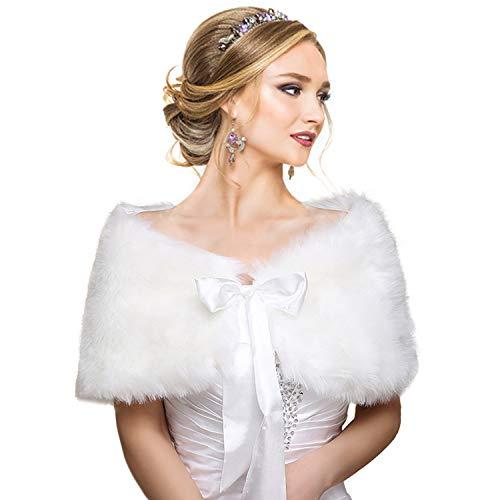 EQLEF® Brautzusatz Elfenbein Kunstpelz Hochzeit Braut Schal Brautschal Brautjacke Cape, One size, Weiß