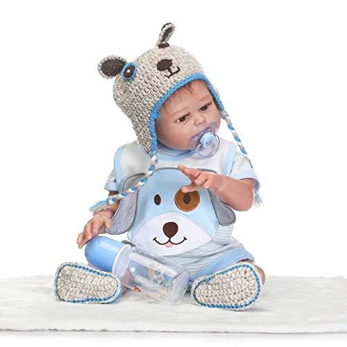 22 Pulgadas 55 cm Realista Real Tamaño del bebé Vinilo de Silicona Suave Niña recién Nacida Reborn Baby Dolls Boca magnética con maniquí de colección