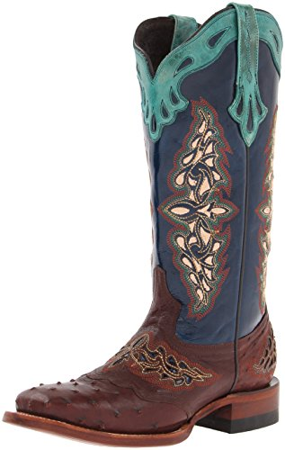 """Lucchese Bootmaker Womens Amberlyn Ostrich Square Toe Western Cowboy Dress Boots Mid Calf Low Heel 1-2"""" - Brown - Size 9 B"""