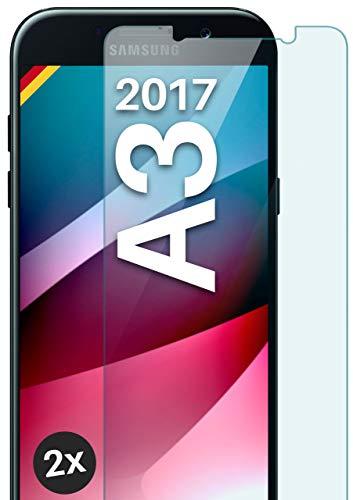 moex Panzerglas kompatibel mit Samsung Galaxy A3 (2017) - Schutzfolie aus Glas, bruchsichere Bildschirmschutz Folie, Crystal Clear Panzerglasfolie, 2X Stück