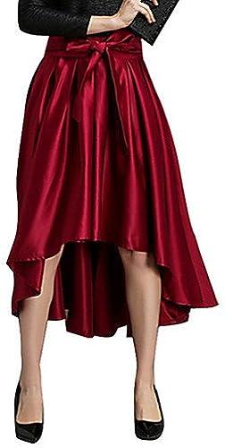 Dress ZLL Femme Jupes Couleur PleineTaille Normale Vintage Asymétrique Soie Micro-élastique Toutes Les Saisons, m