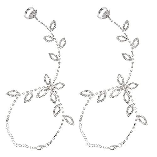 Happyyami 2 Piezas de Diamantes de Imitación Playa Tobillera Flor Hoja Tobilleras...