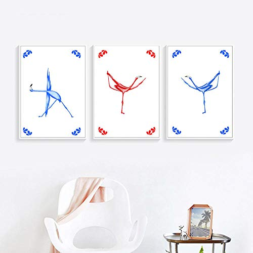 WADPJ Nordic modern gedrukte poster modulaire afbeeldingen canvas flamingo yoga action chart schilderij muurkunst woonkamer huis decoratie 40 x 60 cm x 3 st. Geen lijst