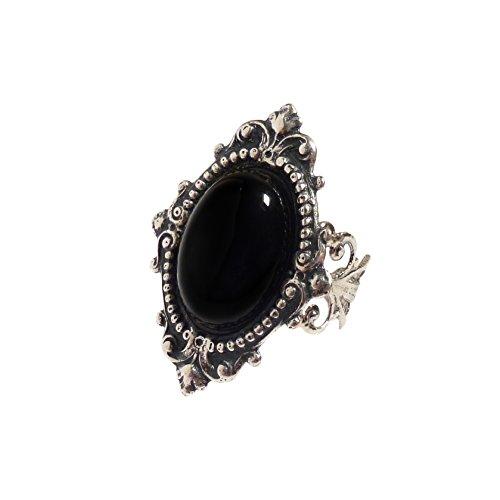 LunarraStar Anillo para mujer chapado en plata, ovalado, ónix negro, estilo gótico, estilo victoriano, piedra preciosa de filigrana, ajustable