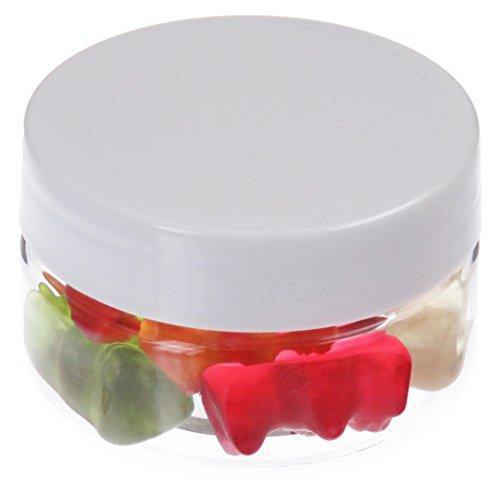 Pot de PET 25 ml transparent, avec couvercle en plastique, blanc, 20 pièces