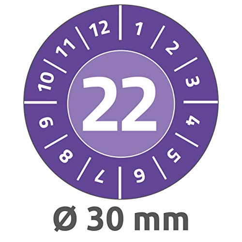 AVERY Zweckform 80 Stück Prüfplaketten 2022 (widerstandsfähig, stark selbstklebend, Ø 30 mm, Prüfaufkleber, beschriftbare Prüfsiegel aus Vinyl-Klebefolie) 6944-2022 violett
