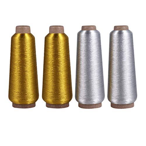 LIXBD Lot de 4 fils métalliques dorés et argentés pour machine à broder, pour la broderie informatisée et la décoration de la confection de bijoux