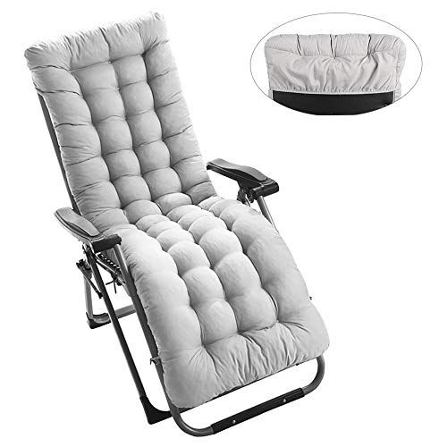 Sun Lounger Cushion, Outdoor Garden Lounger Cushion with Non-Slip Hood for Garden, Patio, Holiday, Relaxing, 170 x 53 x 7 cm