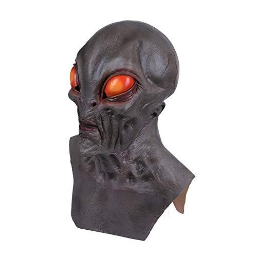 FLYM Maschera di Halloween Costume Lattice di Gomma, Nuovo UFO Alieno Orrore Luminosa Lattice Maschera Intera, Adulto E Bambino di Carnevale in Maschera I Puntelli di Prestazione,B