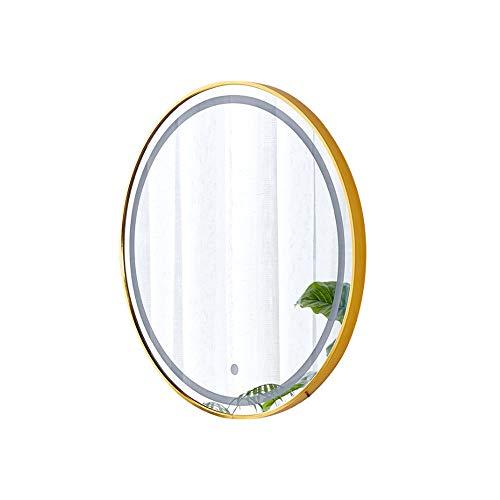 Bathroom mirror (Negro/Dorado) Espejo de baño LED, Espejo de Maquillaje Rojo Neto, Espejo de Pared de baño, Espejo Redondo de baño, Espejo de baño Redondo