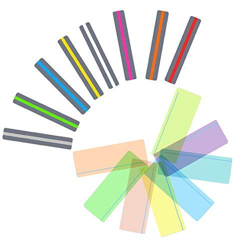 16 tiras de lectura guiada, 2 tamaños de regla de lectura, seguimiento de lectura, tiras de superposiciones de colores, marcadores de varios colores ayuda con dislexia