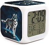JECIA HOLDER Fantasy Wolf Led Alarm Clock Creative Desk Table Clock Multipurpose Calendar Snooze Glowing Led Digital Alarm Clock for Unisex Adults Kids Toy Gift
