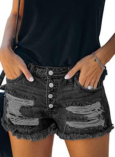 Eytino Pantalones cortos de mezclilla para mujer, estilo casual, cintura media, deshilachada, dobladillo crudo rasgado, pantalones vaqueros cortos - negro - S