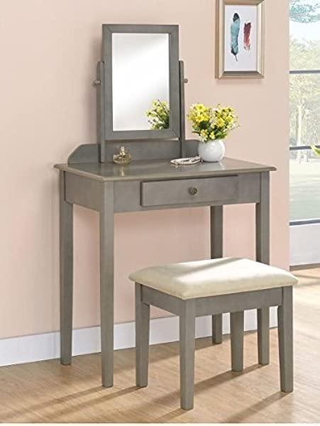 厘米灰色木制梳妆台套装,配有倾斜的镜子和长凳