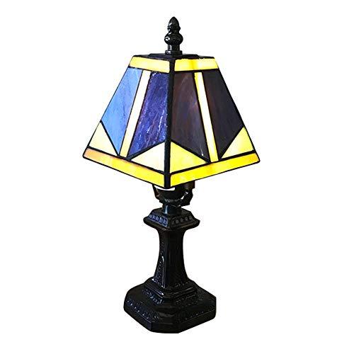 Schreibtischlampe Tiffany-Stil, Buntglas Tischlampe Handgefertigte Blau Barock 7 Zoll Für Wohnzimmer Schlafzimmer Dresser Bücherregal Couchtisch Neben Lese Set