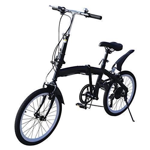 Klapprad, 20 Zoll 7 Gang Fahrrad Doppel V Bremse Klappfahrrad Faltrad Höhenverstellbar 70-100mm (Schwarz)