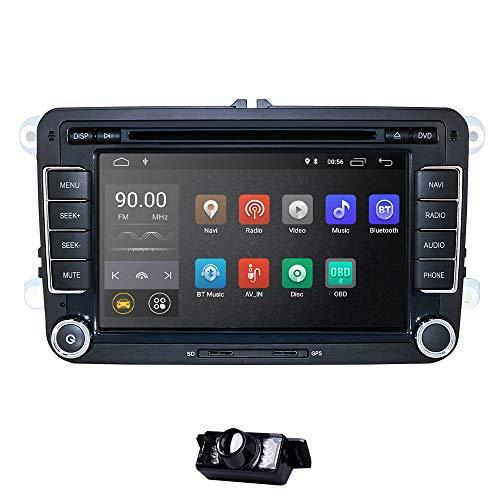 Android 10 Autoradio für VW Radio mit Navi Unterstützt Bluetooth DAB + CD DVD Android Auto WiFi 4G USB MicroSD 2 Din 7 Zoll Bildschirm DSP Audio + Camera