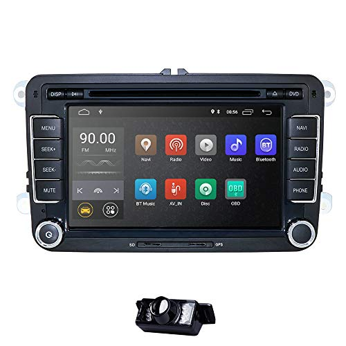 Android 10 Car Radio para VW Radio con Navi Compatible con Bluetooth aptX, Dab + CD DVD Android Car WiFi 4G USB MicroSD 2 DIN 7 Pulgadas Pantalla DSP Audio + Cámara