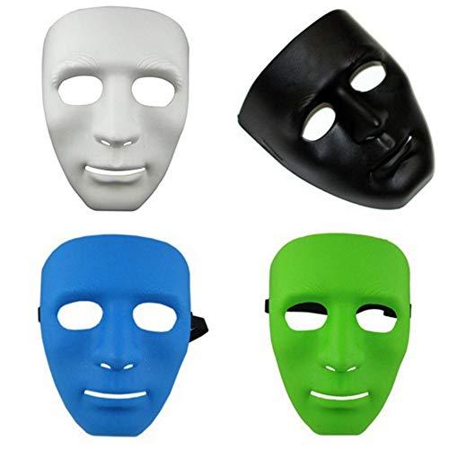 WHFDRHWSJMJ Halloween la Maschere LED Light Cosplay Costume Horror Maschera Maschile Uomini Hip-Hop Street Step Dance Altri Colori Maschera per Feste Moda Uomo 4 Bianco Nero Verde Blu, Bianco
