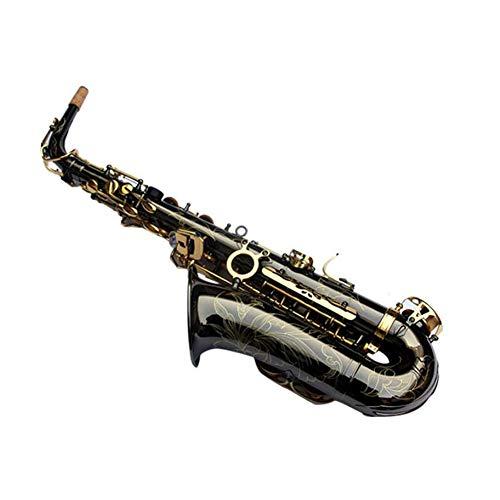 LVSSY-Profesional Llaves de Oro Negro EB E Flat Saxofón Alto Sax Brass Saxofón Grabado Botones de Concha de Abulón NO Necesita SINTONIZAR,Juega Directamente
