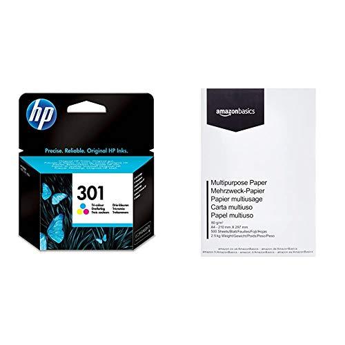 HP 301 CH562EE Cartuccia Originale per Stampanti a Getto di Inchiostro DeskJet, OfficeJet, Envy, Tricromia & AmazonBasics Carta da stampa multiuso A4 80gsm, 1 risma, 500 fogli, bianco