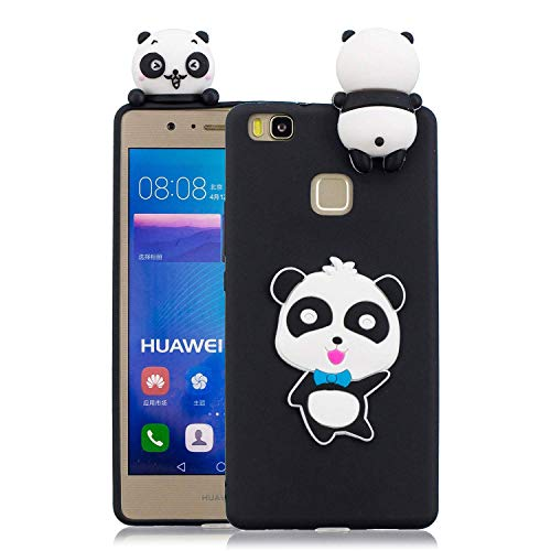 Huiran Funda Huawei P9 Lite, Cárcasa Silicona Negro con Dibujos Diseño Suave Gel TPU Antigolpes de Protector Piel Case Cover Bumper Fundas para Movil Huawei P9 Lite, Panda