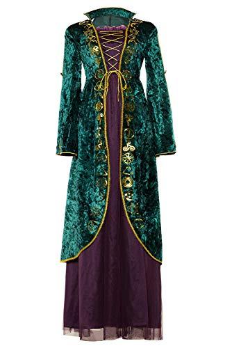 Linen Family Disfraz de bruja de terciopelo verde para mujer, vestido de cosplay de Winifred Sanderson