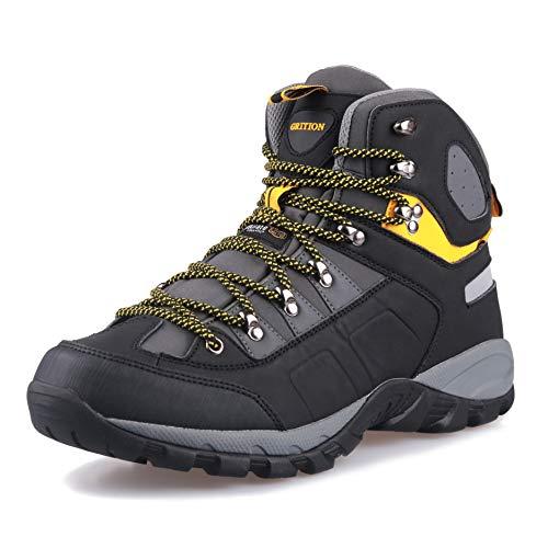 GRITION Botas de Montaña para Hombre, Zapatillas de Senderismo de Nieve Hombre Impermeable Transpirable Antideslizante Zapatos de Deporte Exterior Calzado de Alta Caña Amarillo Negro 44 EU