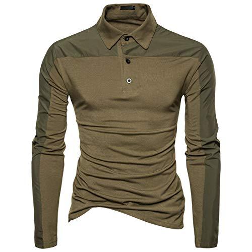 Men Polo Shirt Long Sleeve Basic Golf Poloshirt Casual Tennis Shirt T-Shirt Lighweight Men Polo T-Shirt Solid Color Classic T-Shirt Tops Stylish Elegant Shirt L
