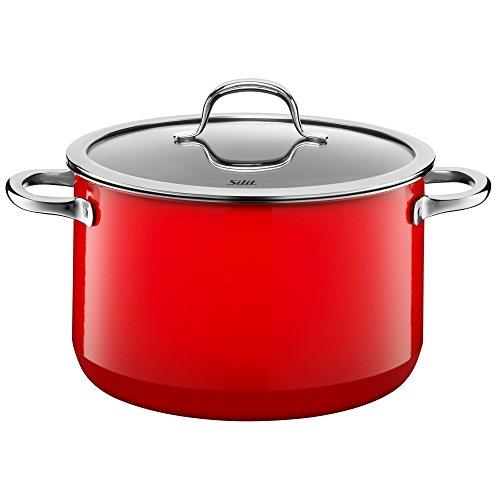 Silit Passion Red Koch/- Fleischtopf, hoch, 24cm, Glasdeckel, 6,4l, Silargan Funktionskeramik, Topf Induktion, rot