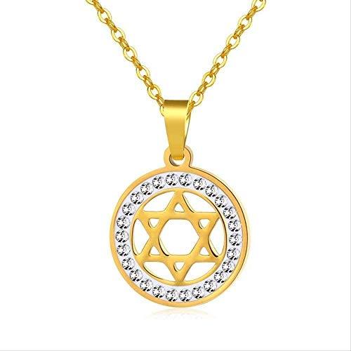 NC188 Collar de Acero Inoxidable para Hombre Hip Hop Estrella de David Colgante Collares Colgantes de hexagrama Collar de Cristal joyería Regalos