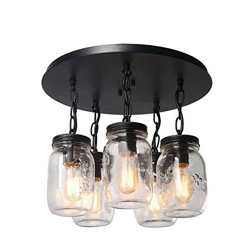 HTZ-M Candelabro De 5 Cabezas, Lámpara Colgante LED Industrial Vintage Interior Lámpara De Techo Decorativa De Vidrio Creativo para La Sala De Estar De La Barra De Café del Desván Negro