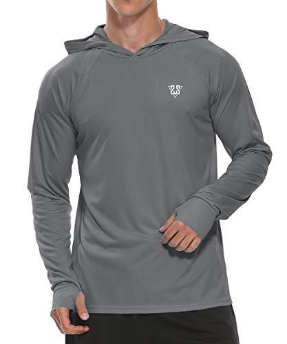 Susclude Men's UPF 50+ Sun Protection Hoodie Shirt Long Sleeve SPF Fishing Outdoor UV Hiking Workout Shirt Quick Dry Rashguard Sun Shirts Dark Gray S