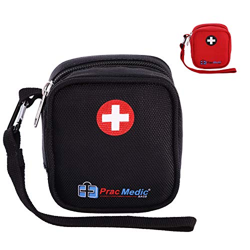 PracMedic Bags Insulated Medical Pouch and Medication Travel Organizer- Lightweight, Compact- Holds Auvi Q, Anti-Histamine Tablets, Nasal Spray, Eye Drops, Small Meds (Black)