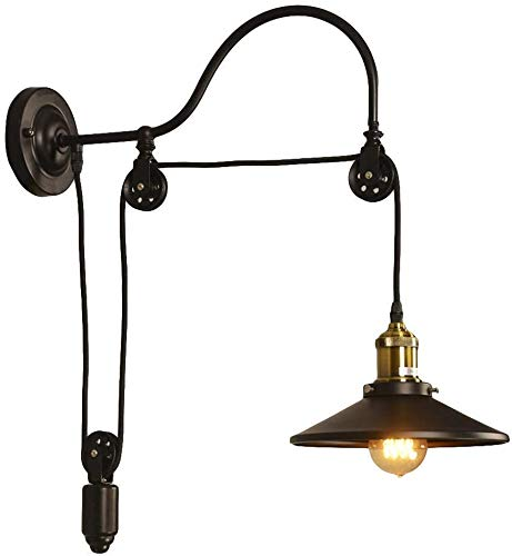 NIUYAO Applique wandlampen metalen stijl zwanenhals muur wasmachines verstelbare industriële retro 1 licht-zwart [energie-efficiëntie klasse E]