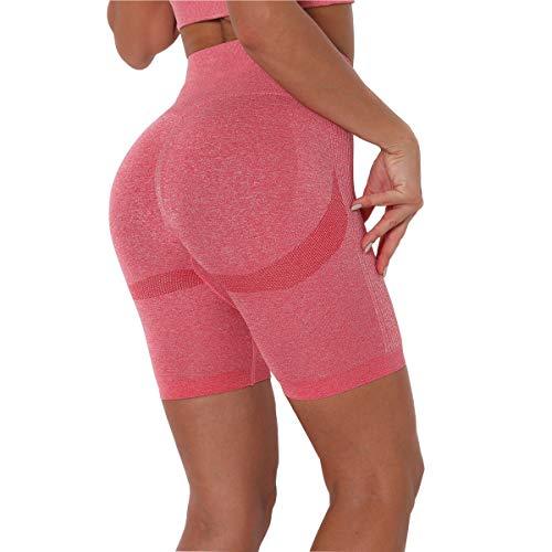 N\C Pantalones Cortos Deportivos Leggings Mujer, Shorts de Yoga Fitness, Mallas Yoga Cintura Alta Shorts Leggins Elásticos Push Up Suave para Correr Gym Mallas Deportivos, Rojo/S