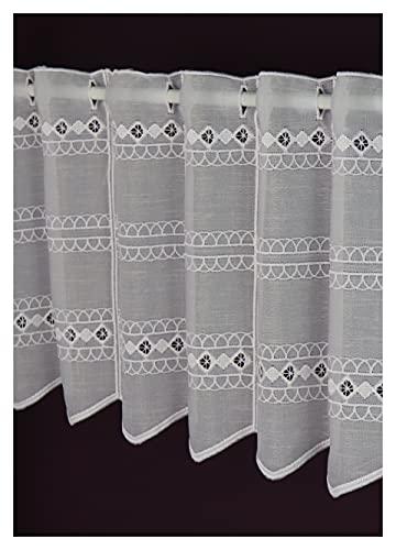 Visillo – Fabricación a medida – Cortina bistró Altura 30 cm – Ancho de la cortina por número de piezas a elegir en tramos de 11 cm, fabricado en Alemania, color blanco