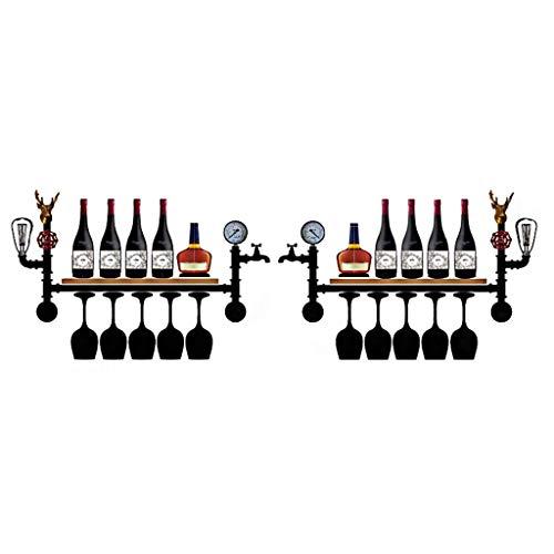 MY1MEY Bastidores de Vino Bastidores de Vino para Botellas de Vino de Madera/Decoración rústica Estante de Vino/Estante de Vino suspendido/Soporte de Estante de Copa de Vino/Inserto Verde Azulado