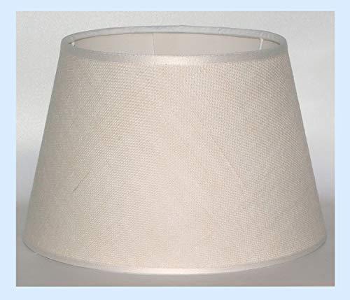 Paralume coprilampada classico per lampada in tessuto tipo Juta avorio con rifinitura - produzione propria - made in Italy (Tronco cono, cm 30)