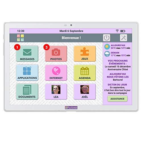 FACILOTAB L 10,1' 32 Go Blanche WiFi 4G - Tablette simplifiée pour Seniors