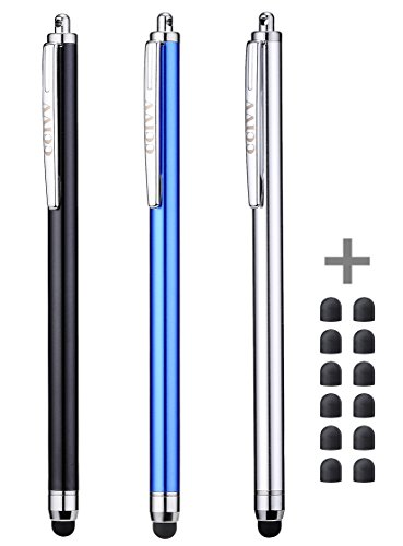 CCIVV 3 Pcs Stylus Pens for Touch Screens [0.24-inch Tip Series] + 12 Extra Replaceable Rubber Tips (Black/Silver/Dark Blue)