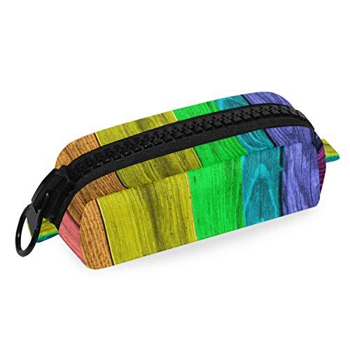 LUPINZ - Estuche para lápices con tablones de madera arcoíris con cremallera...