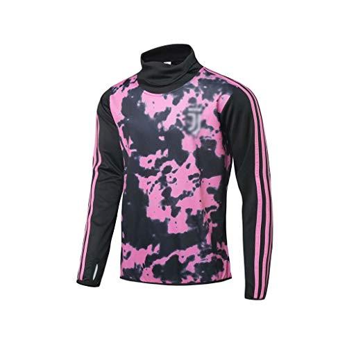 Traje de fútbol de Manga Larga Deportiva Transpirable Ropa de Deporte Formación Rosa Europea Club de fútbol de los Hombres (Top Pantalones +) -ZQY-A0903 (Color : Pink, Size : M)