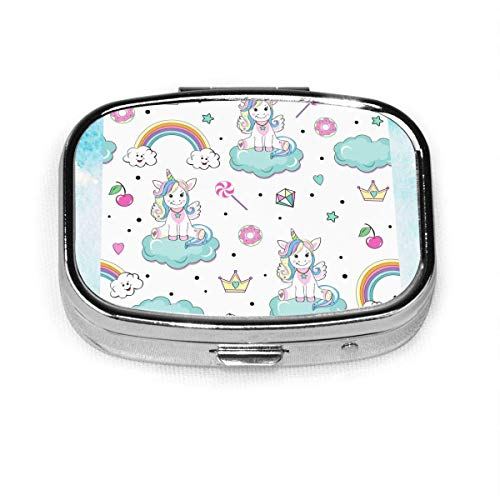 Unicorns Pop Art Fashion Square Pill Box Vitamin Medicine Tablet Holder Wallet Organizer Case
