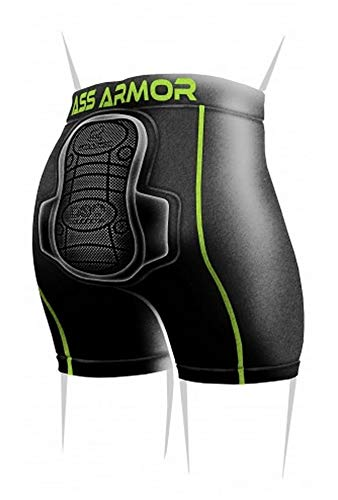 Protective Padded Compression Shorts for Snowboard,Skate and Ski for Tailbone (Black, X-Small)